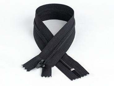 Black 7 inch non-separating nylon zipper.