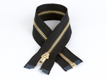 12 inch black separating brass zipper.