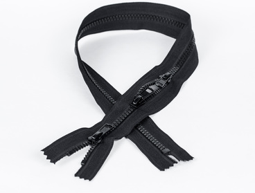 Black 3-way zipper with plastic teeth.