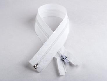 White nylon separating 22 inch zipper.