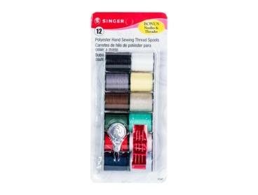 Variety pack of multi-colored polyester thread by Singer.