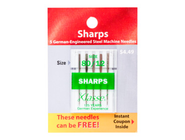 Super sharp size 80 - 12 sewing needles for tightly woven fabrics.