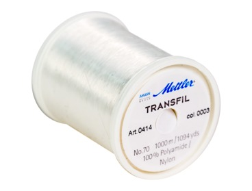Mettler invisible clear sewing thread in no 70 weight.