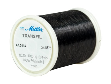 Dark tinted invisible thread by Mettler transfil.