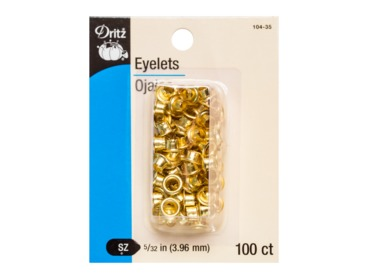 Dritz brass - gold eyelets for corset lacing, fashion, bags, and more.