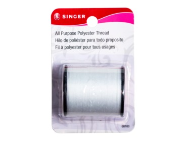 Polyester white all-purpose sewing thread.