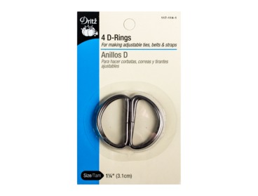 Black steel d-rings for making adjustable straps, belts, etc.
