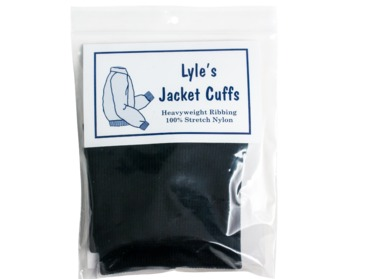Black nylon cuffs for outdoor wear, jackets, leggings, coats, etc.