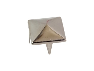 Silver pyramid stud for hats and clothes.