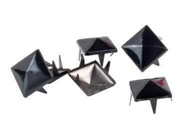 Black metal pyramid studs for jackets and clothing.