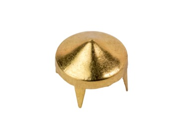 Gold short cone stud for clothing.