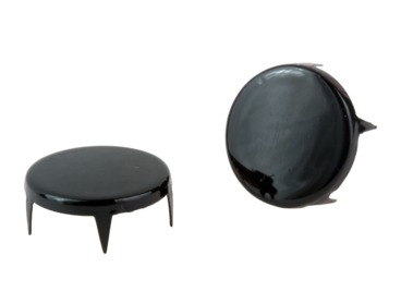 Black round flat studs - spikes.