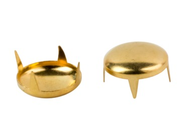 Gold dome studs for jackets, hats, clothing.