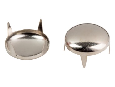 Silver dome studs for apparel.