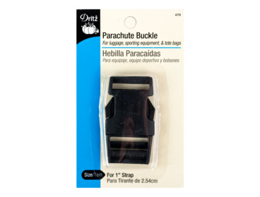 Black parachute buckle, one inch wide.