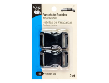 Three fourths inch wide side-release parachute buckle.