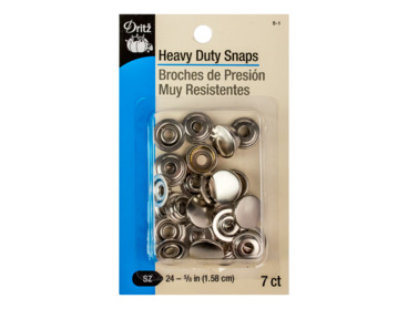 Heavy duty silver capped snaps.