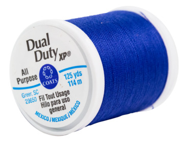 Royal blue all purpose polyester thread.