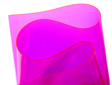 Hot pink semi-transparent vinyl material.