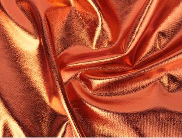 orange metallic spandex foil 4 way stretch fabric