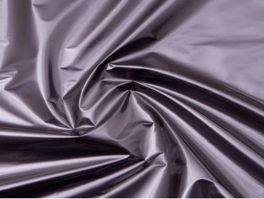 Metallic purple shiny 4-way stretch vinyl fabric.