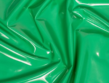 Green stretch vinyl fabric.