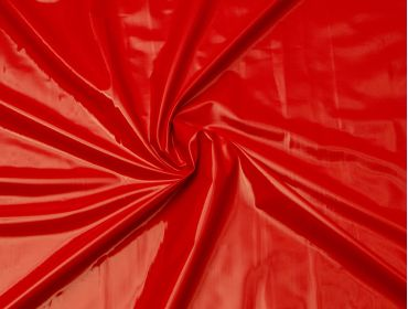Red patent vinyl fabric.