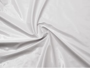 White patent vinyl fabric.