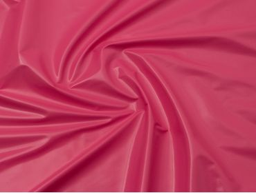 Hot pink patent vinyl fabric.