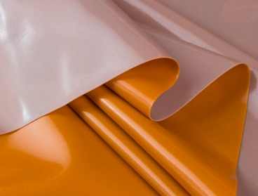 Double sided metallic orange and grey latex sheeting.