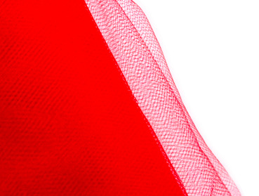 Red tulle fabric.