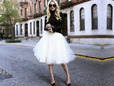 White tulle fabric for bridal fashions. thumbnail image.