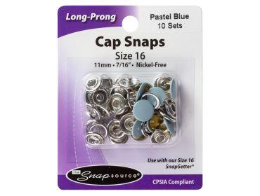 Pastel blue cap snaps.