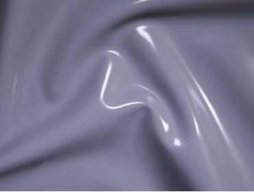 Grey pu coated vinyl shiny stretch fabric.