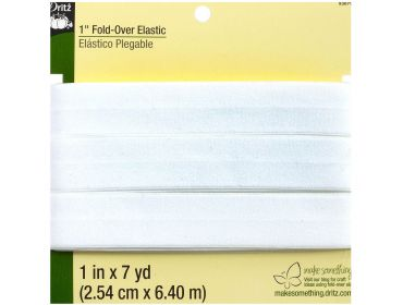 White Dritz fold-over elastic 1 inch by 7 Yards