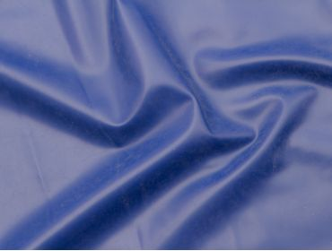 Royal blue latex sheeting for fashion and exercise bands.