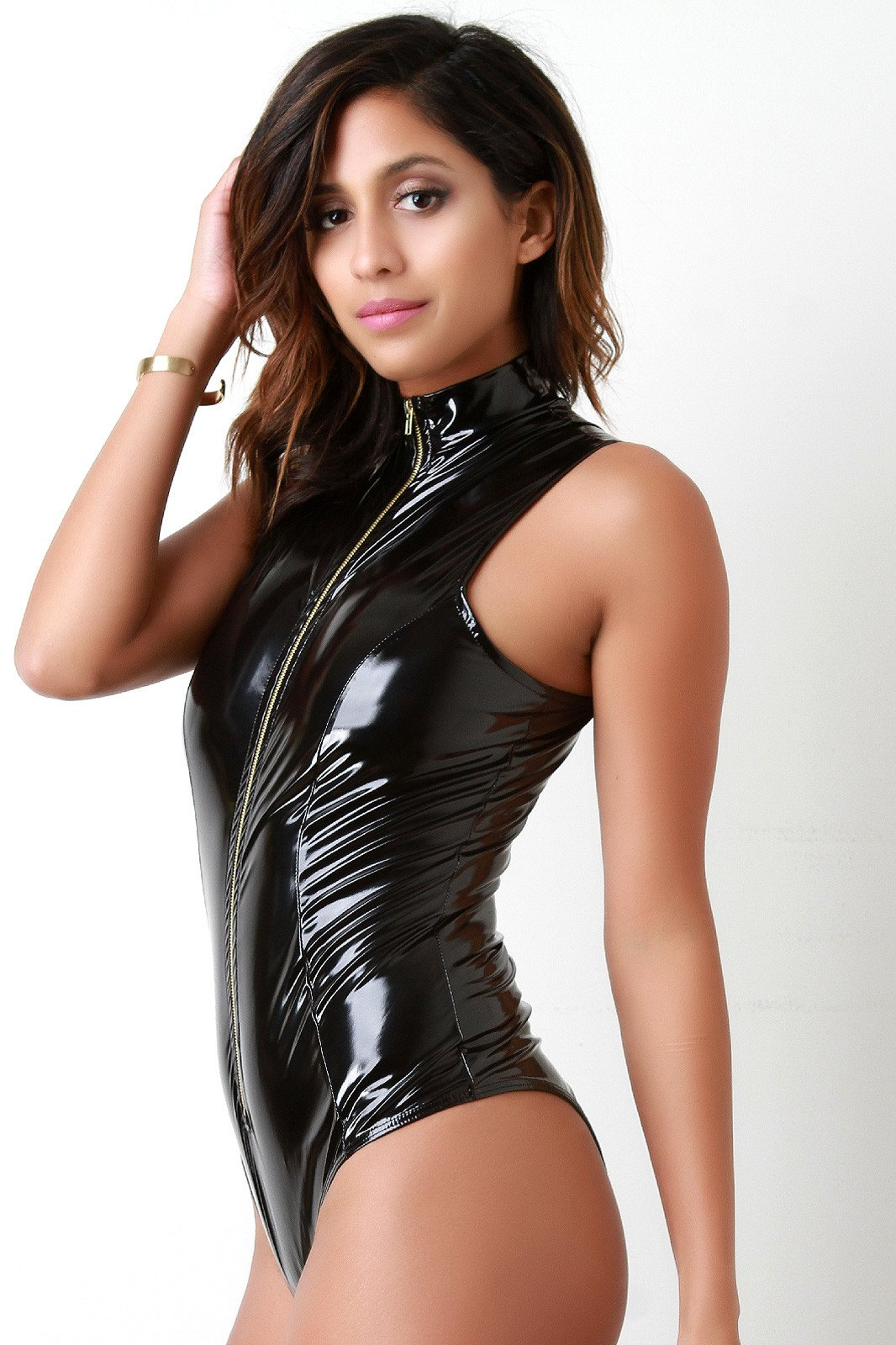 Finished james bond monokini in glossy stretch vinyl.