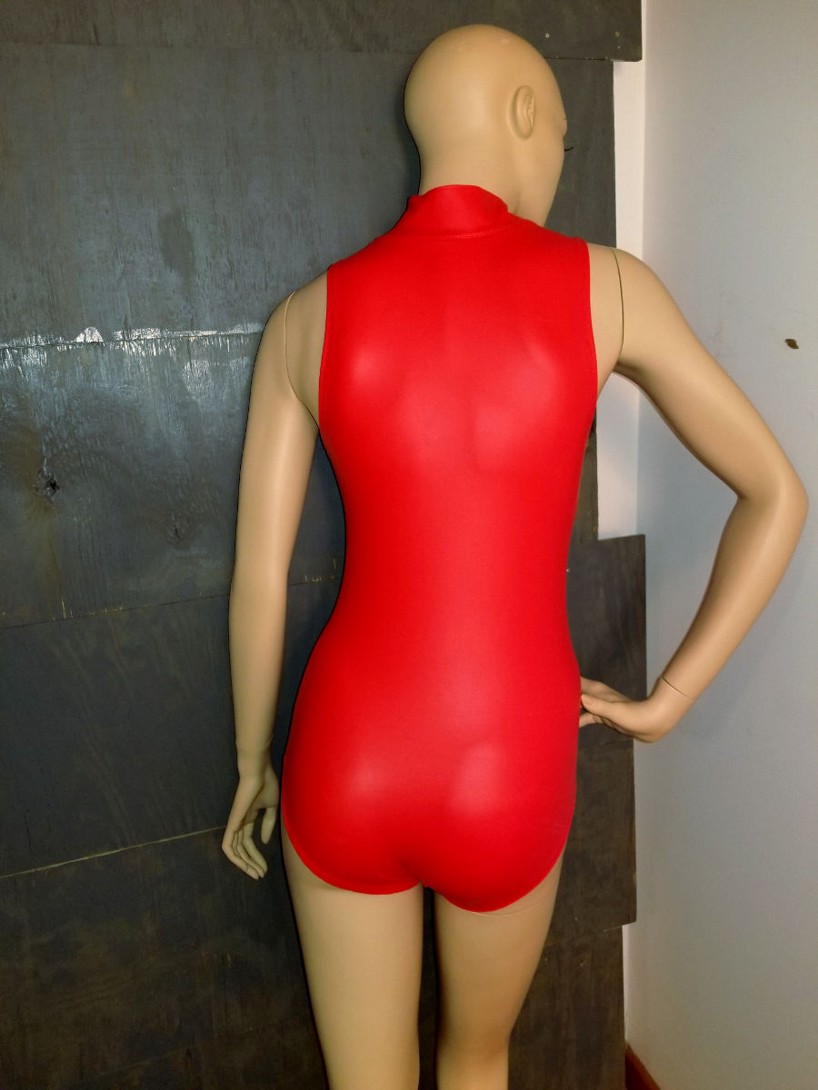 Finished james bond monokini in red faux Leatherette.