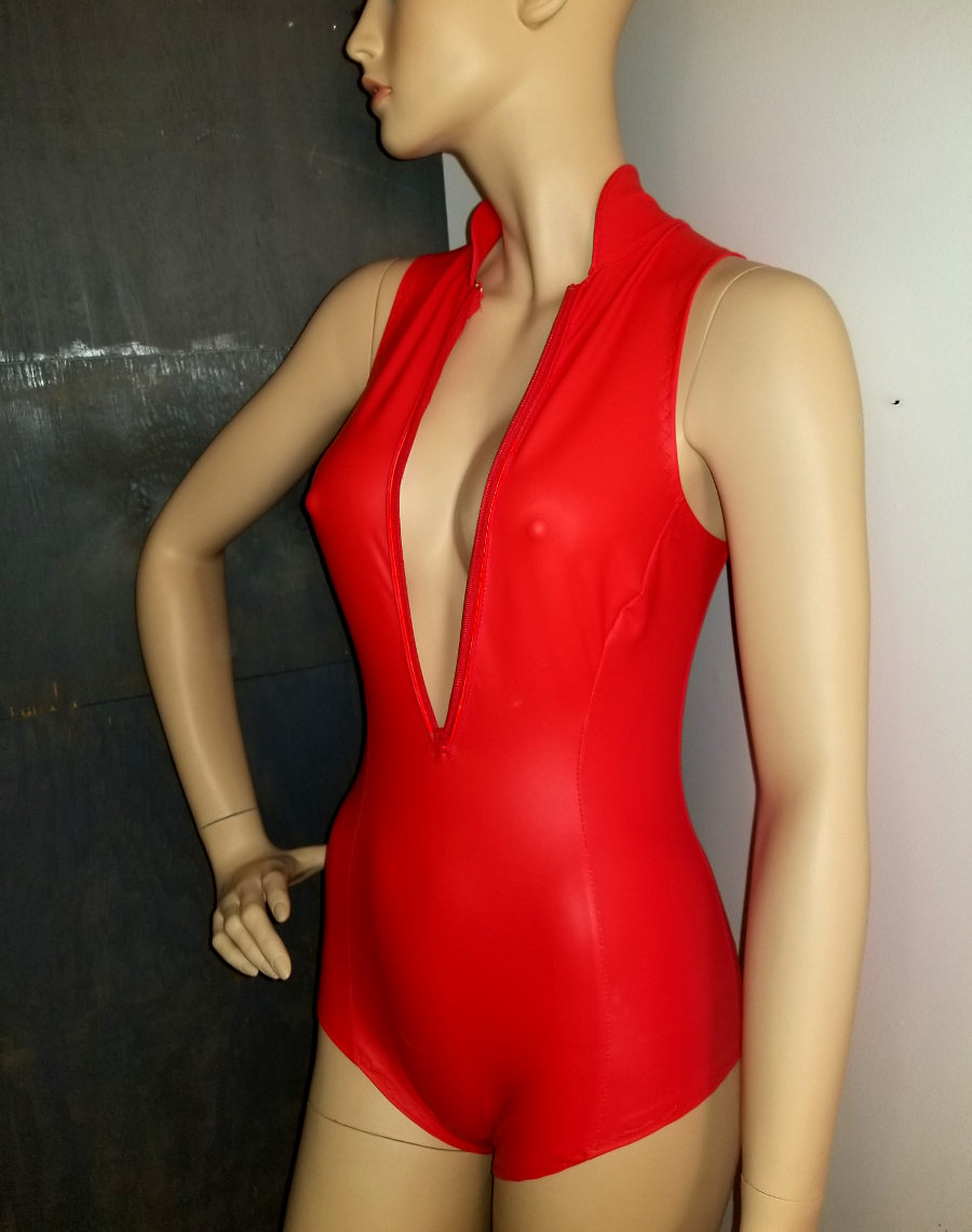 Closeup of finished red veggie leather swimsuit.