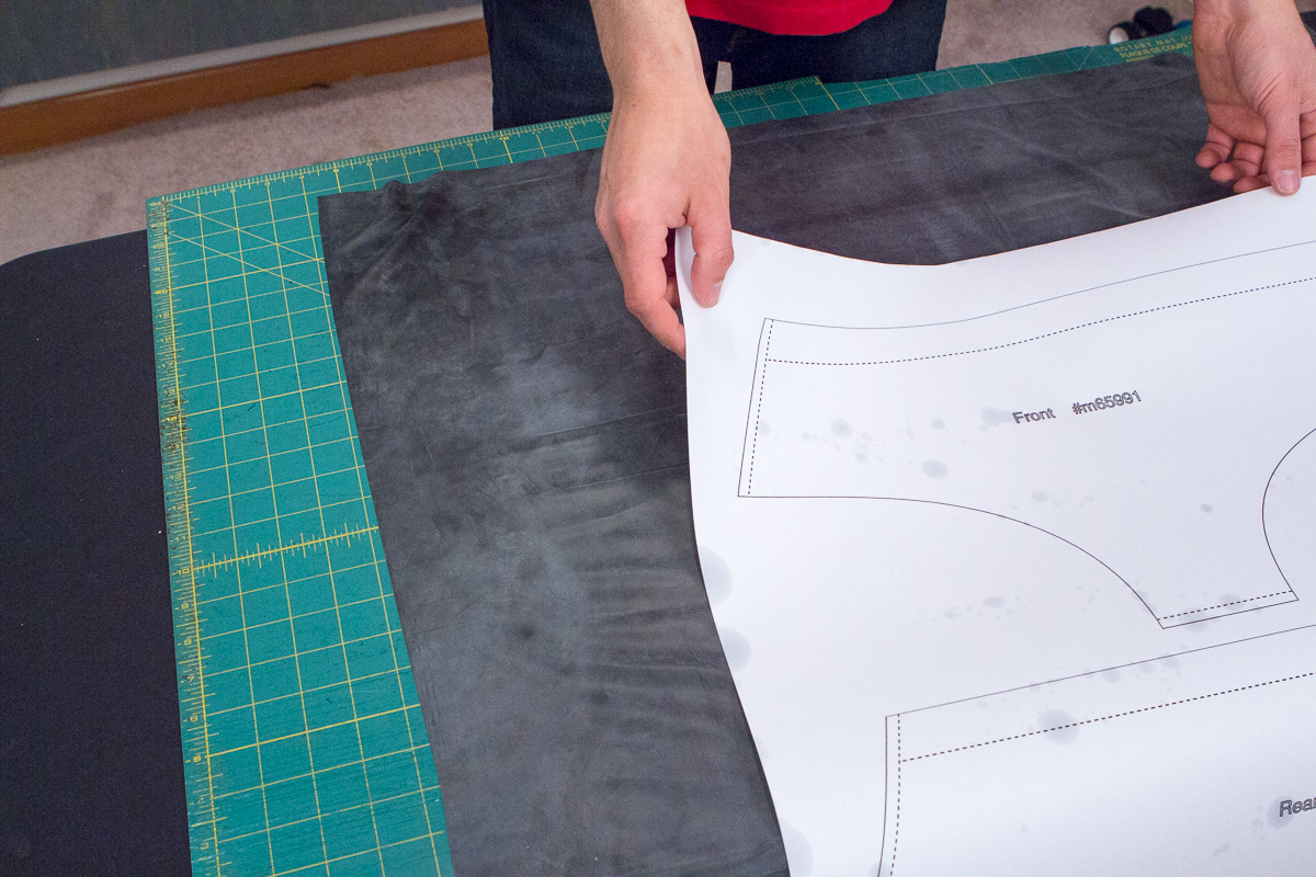 Place brief pattern on top of your material