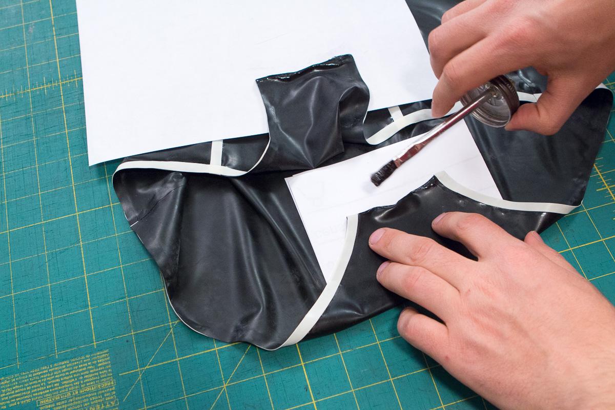 Glue the crotch seam