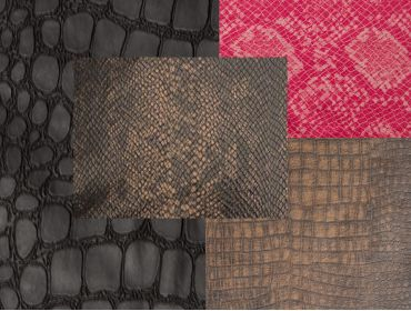 Reptile snakeskin embossed fabric sample.